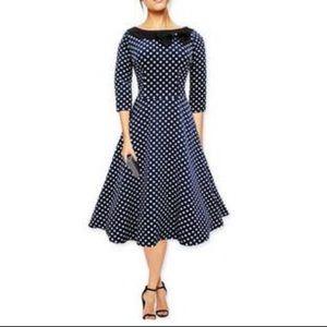 Navy blue polka dot vintage style dress dress